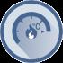 Rundes Icon: In der Mitte ist eine Geschwindigkeitsmessung mit einer Flamme dargestellt